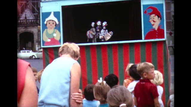 1967 street puppet show in amsterdam - puppet stock videos and b-roll footage