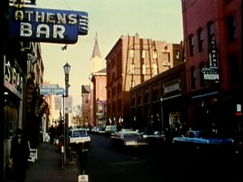 montage, street scene, 1960's, detroit, michigan, usa - 1960 1969 stock-videos und b-roll-filmmaterial