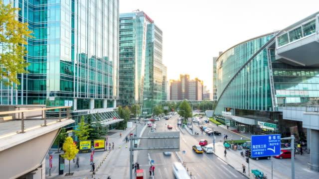 straatbeeld en moderne gebouwen in Beijing time-lapse hyperlapse 4k