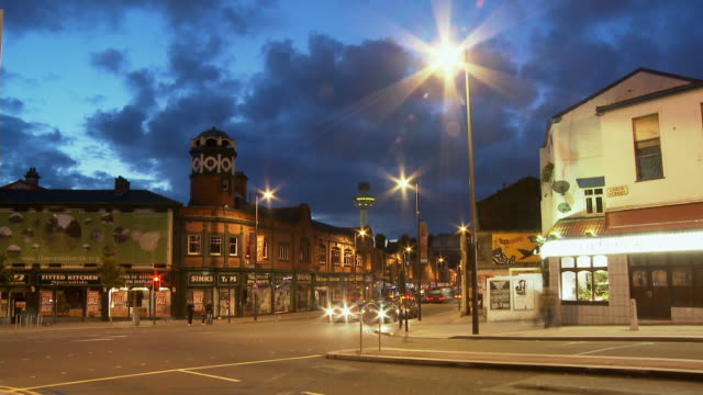 t/l, ms, street scene at dusk, liverpool, england - liverpool england stock videos & royalty-free footage