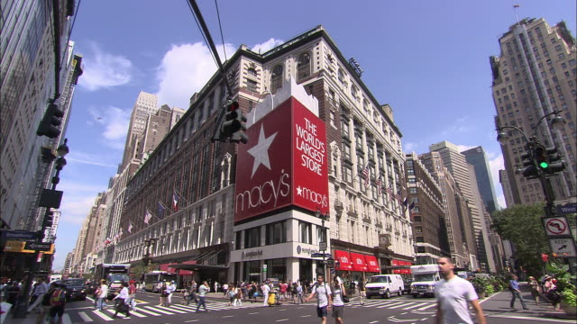 ws, street scene at macy's department store, new york city, new york, usa - department store stock videos & royalty-free footage