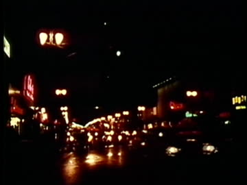 ws, street scene at night, 1960's, detroit, michigan, usa - 1960 1969 stock videos & royalty-free footage