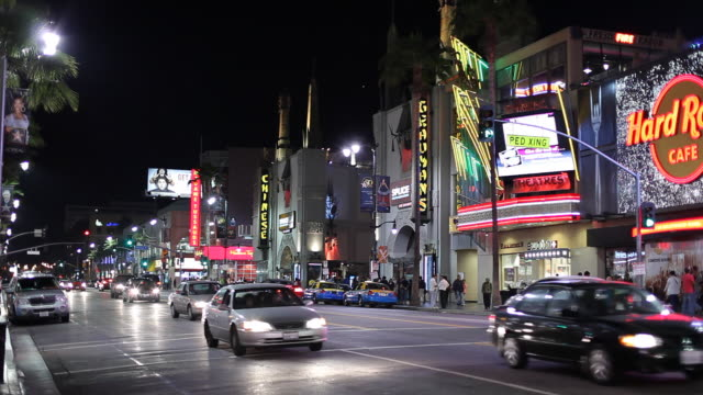 ws street scene at night / hollywood, los angeles, california, usa - hollywood boulevard stock videos and b-roll footage