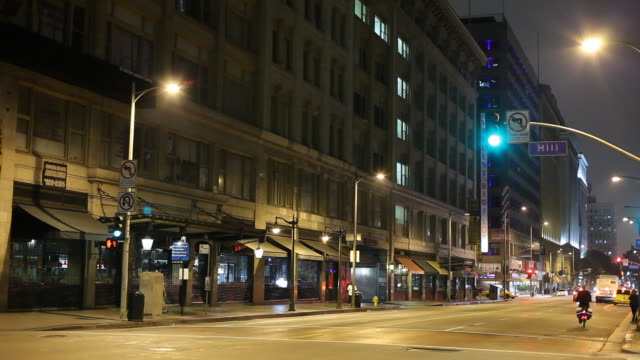 ws street scene at night / los angeles, california, usa - establishing shot stock videos & royalty-free footage