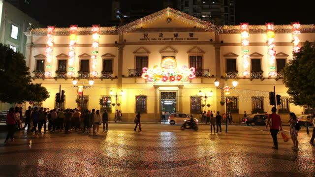 WS Street scene at night / Macao, China