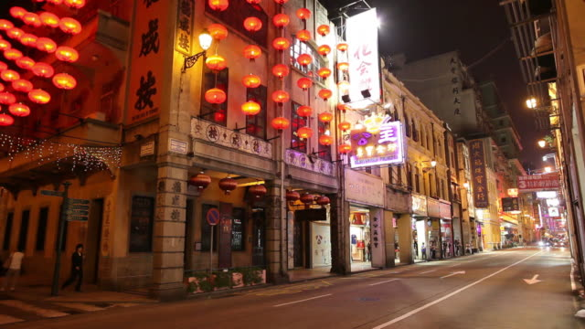 ws street scene at night / macao, china - macao stock videos & royalty-free footage