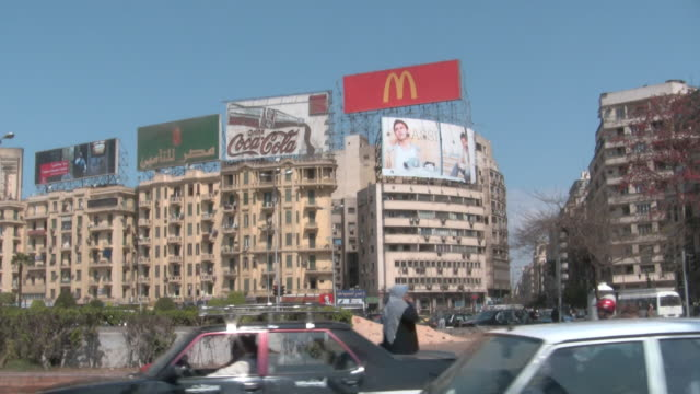 ms, street scene, cairo egypt - commercial sign stock videos & royalty-free footage