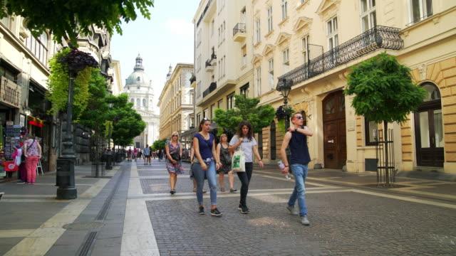 street scene in budapest zrínyi utca - budapest stock videos & royalty-free footage