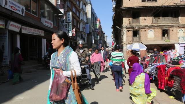 Street scene in downtown at mid day time people walking AUDIO / Kathmandu Bagmati Nepal