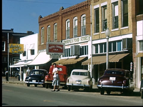 ms, street scene in small town, 1950's, oklahoma, usa - small town stock videos & royalty-free footage