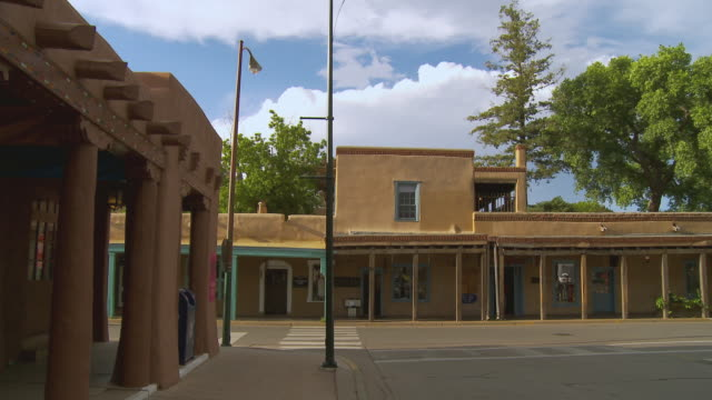 MS, Street scene, intersection of Cathedral Place and East Palace Avenue, Santa Fe, New Mexico, USA