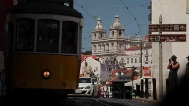 ms street scene / lisbon, portugal - tram stock videos & royalty-free footage