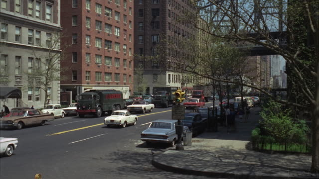 1966 ws street scene on sunny day - stationary process plate stock videos and b-roll footage