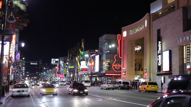 WS Street scene with Kodak Theatre at night / Hollywood, Los Angeles, California, USA