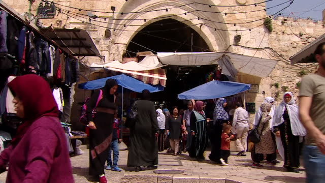 street scenes in markets in the old city of jerusalem - general view stock videos & royalty-free footage