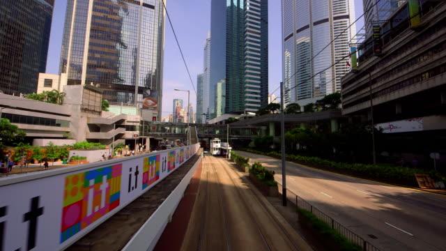 vidéos et rushes de street scenes & victoria peak view - ligne de tramway