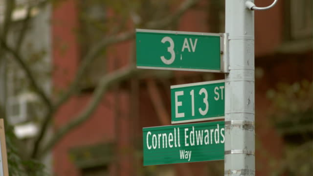 street sign 3rd ave at 13th st, cornell edwards way - number 3 stock videos & royalty-free footage