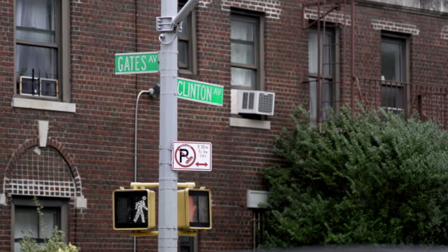 Street sign at the intersection of Clinton and Gates in Brooklyn.