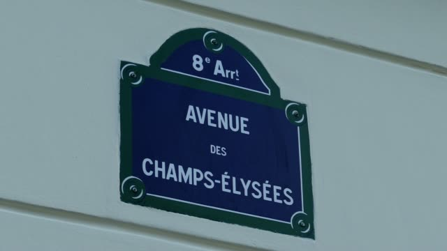 street sign avenue des champs-elysees, paris, france, europe - avenue des champs elysees stock videos & royalty-free footage