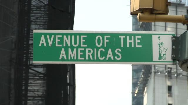 CU, Street sign Avenue of the Americas, New York City, New York, USA