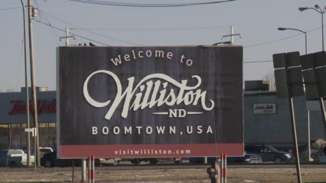 Street sign entering Williston, North Dakota, USA.