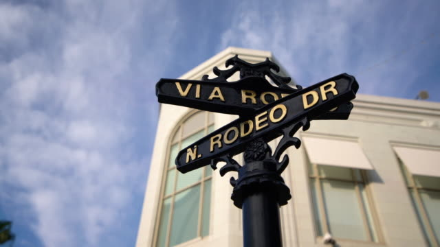la pan street sign of rodeo drive / beverly hills, ca, usa - sign stock videos & royalty-free footage