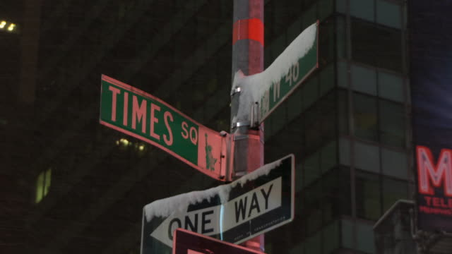 Street sign on the corner of Time Square and 46th during a snow storm.
