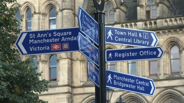 cu, street signpost, albert square, manchester, england - manchester england stock videos & royalty-free footage