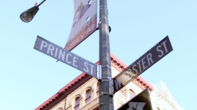 la street signs and lamp post at the intersection of prince and wooster streets, with the upper floors of a building beyond / new york city, new york, united states - prince stock videos and b-roll footage