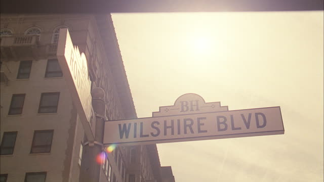 PAN Street signs for intersection of Wilshire Boulevard and Rodeo Drive / Beverly Hills, California, United States