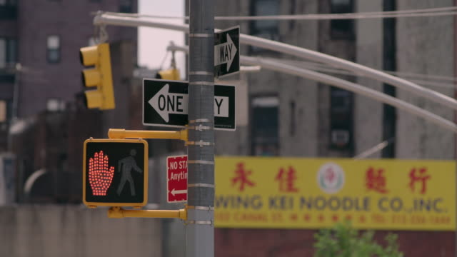 Street signs on a hot summer day in Chinatown, Manhattan.