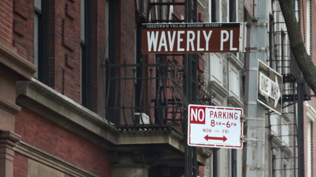 street signs waverly place, no parking 8am-6pm, one way - no parking sign stock videos & royalty-free footage