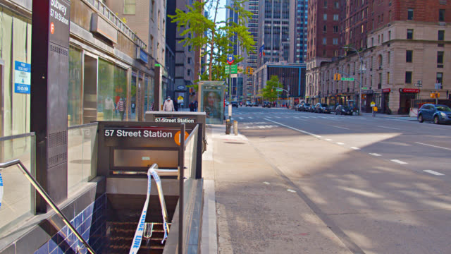 57 street station. subway. street - cabinet stock videos & royalty-free footage