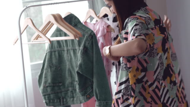 street style : asian woman at home - small business - clothing stock videos & royalty-free footage