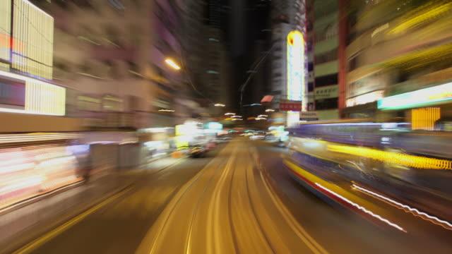 T/L WS POV Street traffic from moving tram / Hong Kong, China