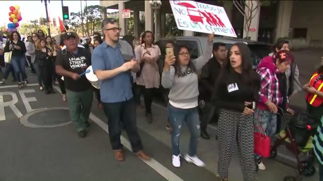 KTLA Street Vending Advocates Protest in Downtown LA
