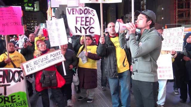 Street vendors rally in Times Square demanding permits to legally sell on the street of New York City / Street Vendor Project is a worker center...