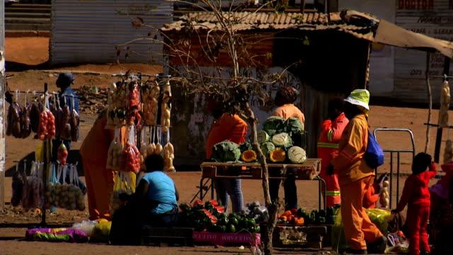 vídeos de stock e filmes b-roll de w/s street vendors selling fruits and vegetables/ soshanguve township/ gauteng/ south africa - vendedor trabalho no comércio