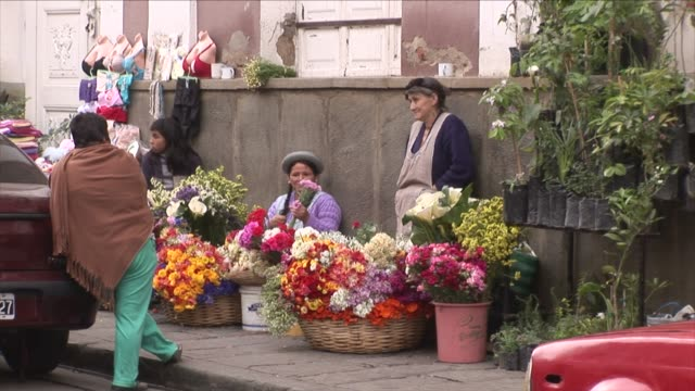 street vendors with flowers - latin america stock videos & royalty-free footage