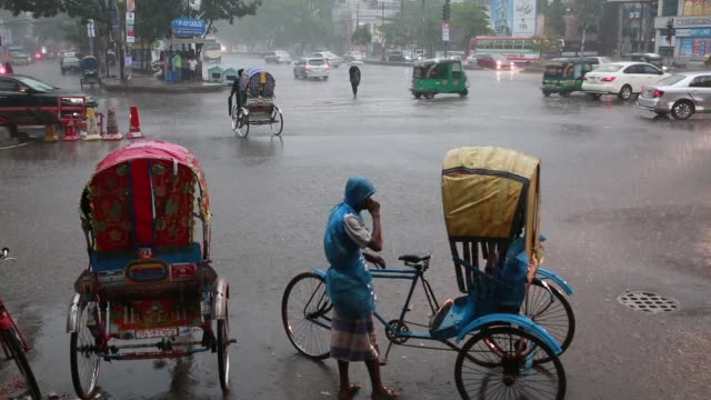 Street view during sudden storm and rain Dhaka Bangladesh on May 02 2018