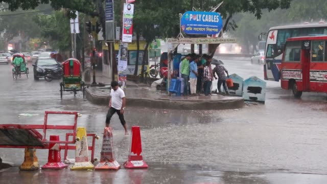 street view during sudden storm and rain dhaka bangladesh on may 02 2018 - dhaka stock videos & royalty-free footage