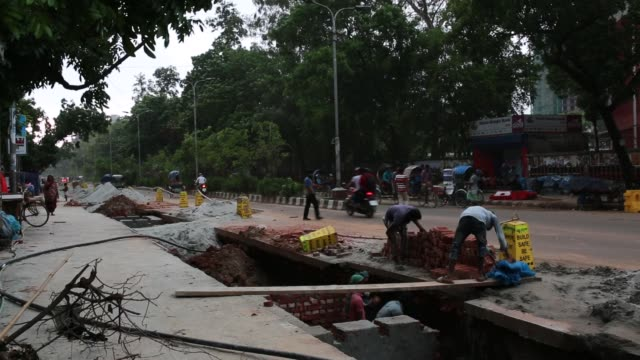 Street view during sudden storm and rain in Dhaka Bangladesh on May 04 2018