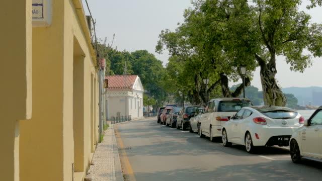 street view in coloane area, coloane, macau, china - stationary点の映像素材/bロール