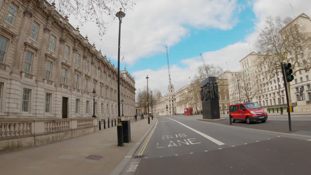 street view of london during coronavirus (covid 19) by bicycle london 14 - horse guard parade part 1 - 4k - whitehall london stock videos & royalty-free footage