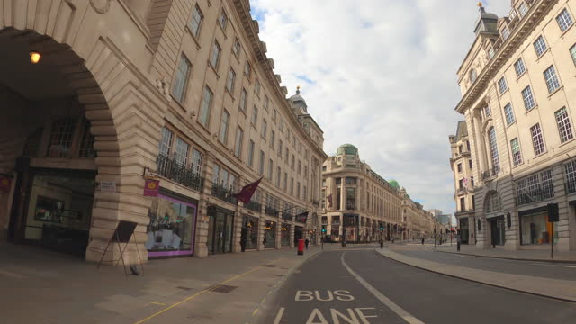 street view of london during coronavirus (covid 19) by bicycle london 22 - regent street part 1 - 4k - monument stock videos & royalty-free footage