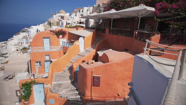 street view of oia - oia santorini stock videos & royalty-free footage