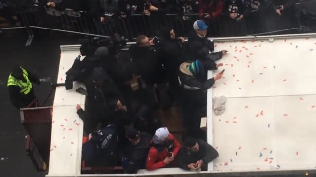 Street view of the Patriots Parade in Boston