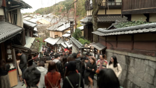street view: walking down a ladder in old town kyoto in winter - japan stock videos & royalty-free footage