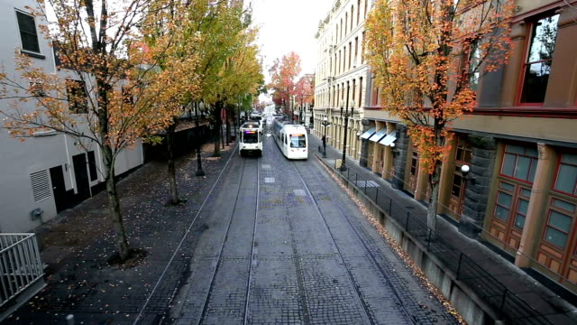street with cable cars in midtown - portland oregon stock videos & royalty-free footage