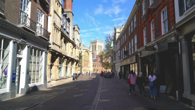 street with college view in cambridge, uk - chapel stock videos & royalty-free footage